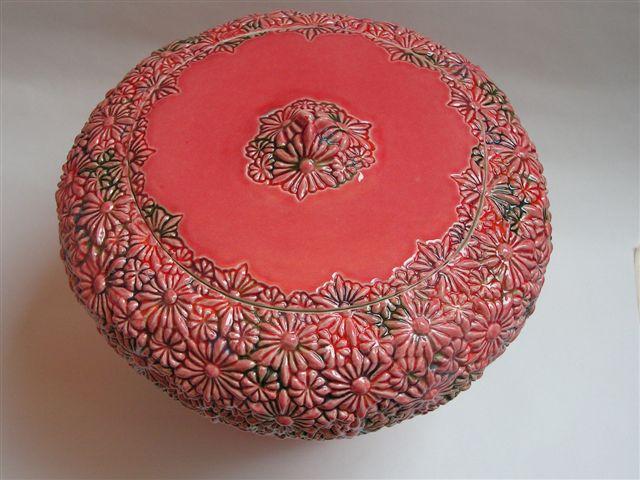 bloemen urn rood, bovenzijde