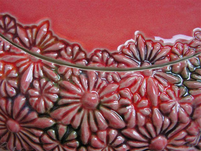 bloemen urn rood, detail