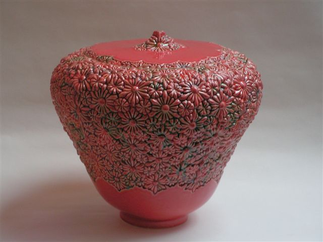 bloemen urn rood