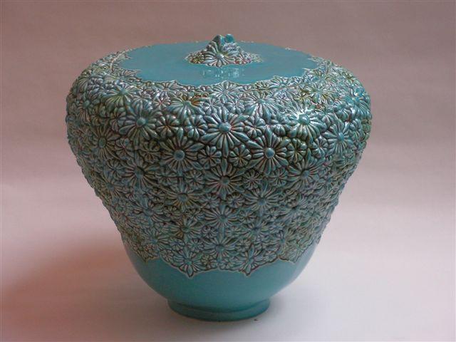 bloemen urn turqoise