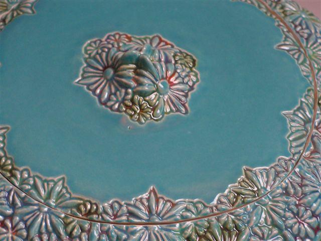 bloemen urn turqoise, bovenzijde