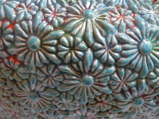 bloemen urn turqoise, detail