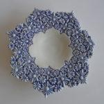 schaaltje kl. bloemen blauw